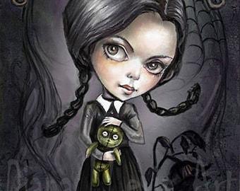 """Gloomy Goth Girl - 8.5"""" x 11"""" Wednesday Addams Print -Cute Creepy Art"""