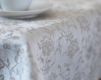 Linen TABLECLOTH Flowers White Linen Table Wear Damask Luxury Wedding Tableclths Tablecloths With Borders