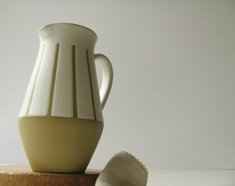 SALE Vintage Denby Pitcher Creamer Jug Water Milk Studio Stripes Stoneware England Art Pottery Kitchen Dish White Dining Serving Tableware