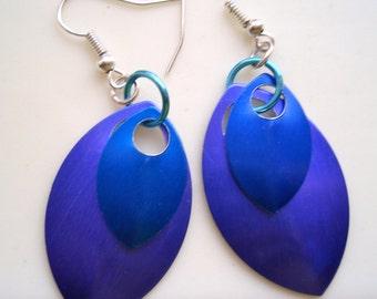 Lavender Blue and Dark Blue Earrings, Blue Earrings, Purple oval Earrings, Teal Blue and Purple Earrings