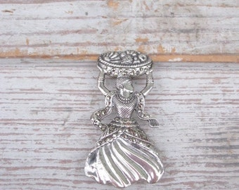 Fruit Basket Lady Sterling and Marcasite Pin