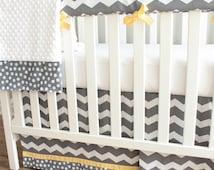 Charcoal Gray Chevron Yellow Bumperless Crib Rail Bedding Set