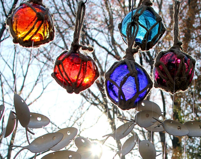 Fresh Colorful Fish Wind Chime Glass Buoy Ornament Fishing Float & Spoon Mobile Winter Sun Warmth Bright Gazing Ball Orb Thanksgiving Meals