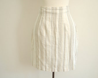 natural linen skirt - 80s vintage vertical striped tan beige brown cream taupe bodycon wiggle fit hippie boho bohemian short mini xs small