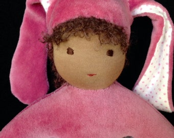 Small Rose Velour Waldorf Bunny Doll