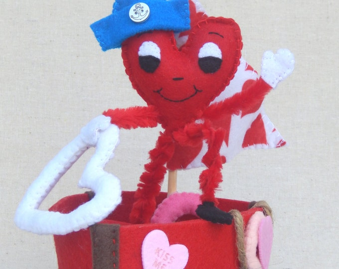 Love Boat Valentine Felt Art Doll