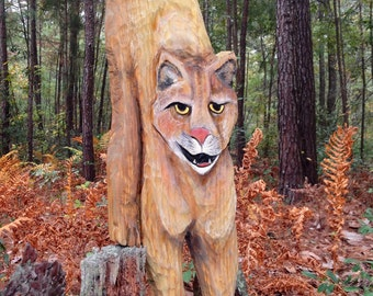 """Mountain Lion 40"""" tall chainsaw wood cougar carving wild cat wilderness wildlife art faux taxidermy home decor indoor outdoor wall mount"""