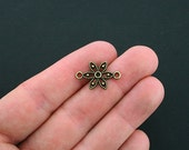 10 Flower Connector Charms Antique Bronze Tone - BC1230