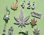 Marijuana 4:20 Charm Collection Antique Silver, Gold, and Bronze Tone 12 Different Charms - COL302