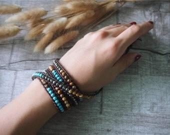Faceted Beaded Wrap Bracelet Leather Wrap Bracelet Beaded Turquoise Wrap Boho Style 5 Wraps Women's Bracelet 11378