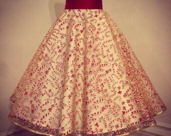 Christmas 50's skirt, candy cane, cirlce skirt, glitter, festive, gold, red, white, high waisted, 1950's