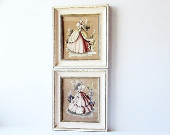 1940s Southern Belle Wall Art - Vintage Home Decor - TURNER Framed Prints - Pale Pink - Shabby Chic Pictures - Wall Hangings - Wall Decor