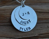 Disc Necklace - Stacked - Sterling Silver- Personalized - Great Gift - Teachers, Counselors, Graduation, Daughter's Necklace, Best Friends