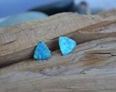 SALE 30% OFF - Blue OPAL Triangle Stud Earrings - Sterling Silver Posts - 9mm Light Blue Flat Triangle Opal Stone