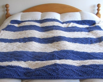 Heavy Blue and White Hand Knitted Afghan