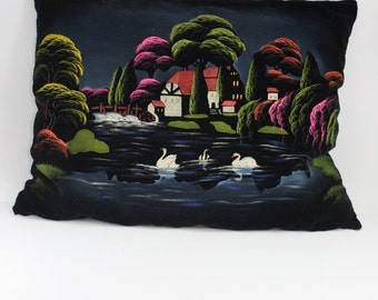 Vintage Hand Painted Black Velvet Pillow Cottage and Swans