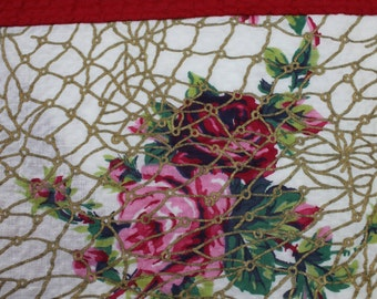 Vintage Tablecloth Cottage Chic Pink Red Green Floral Roses