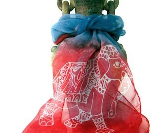 Elephant Scarf. Elephant Love. Indian Scarf. Red Silk Scarf. Blue Silk Scarf. Hand Painted Silk Scarf. Silk Scarves Canada. KavitaKriti
