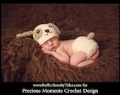Newborn Photo Prop - Newborn Puppy Hat, Baby Puppy Hat and Diaper Cover, Crochet Puppy Hat, Newborn Boy Hat, Newborn Crochet PHOTO PROP