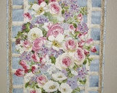 Floral Wall Hanging, spring flowers, cottage style, shabby chic, watercolor, quilted