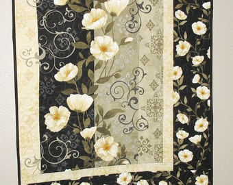 Elegant Wall Hanging, Midnight Poppies, Table Runner, by Wilmington Prints, quilted