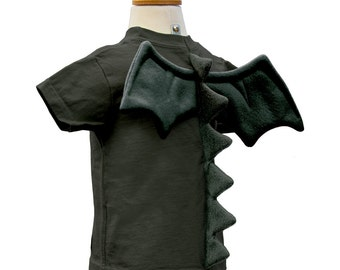 Dragon Shirt - size 6T - Black T-Shirt with Dragon Spikes and Wings