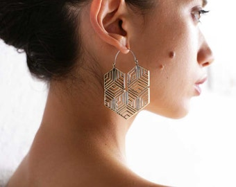 Hexagonal Hoop Earring - Boho Jewelry - Geometric Earrings