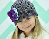 Gray Beanie Hat with 3 button on detachable flowers of your choice (fits babies, toddlers, children and adults) (Lily Beanie)