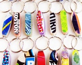 Little Skateboard Keychain made from Recycled Skateboards by Deckstool Skateboard Recycling. Fun, colorful skater gift. FREE SHIPPING