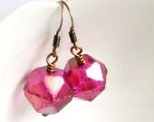 raspberry ice drop earrings, czech glass earrings, beaded dangle, fuschia