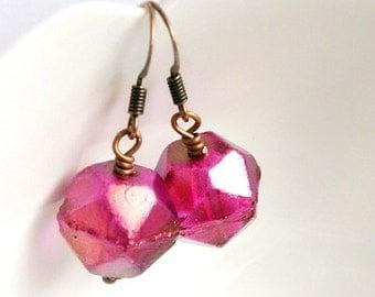SALE raspberry ice drop earrings, czech glass earrings, beaded dangle, fuschia