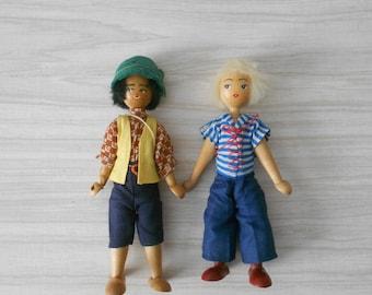 vintage folk art polish wooden dolls / blonde girl / boy / jointed peg