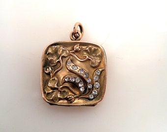 Antique Gold Filled Repousse Rhinestone Locket Poppies Memorial Jewelry