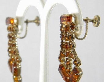 Lavish Dangling Vintage Topaz Rhinestone Earrings