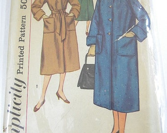 Vintage Sewing Pattern Simplicity 2187 50s Classic Coat 3 Styles