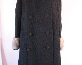 1940's Black Fur Coat, Fur Collar & Cuffs, Forstmann Tag-SALE