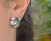 Sterling Silver Round Stud Earrings, textured domed studs, oxidized