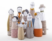 Family portrait  art doll -grandparents, parents ,childrens dressed in natural earth tones , stripes plaid & polka dots - timohandmade dolls