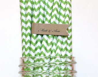 25 Lime Green Paper Straws, Green Chevron Straws Tractor Party, Mine Party, Vintage Rustic Wedding Baby Shower Cake Pop Sticks Made in USA