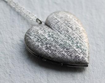 Heart Locket... Vintage Silver Oversized Large Locket
