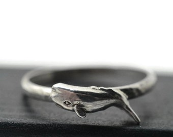 Sperm Whale Jewelry, Silver Animal Ring, Ocean Jewelry, Sea Creature Ring, Silver Whale Ring