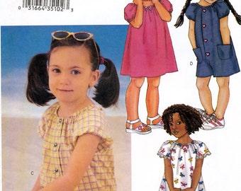 Butterick 3543 Child's Dress and Jumpsut Sewing Pattern - Uncut - Size 2, 3, 4