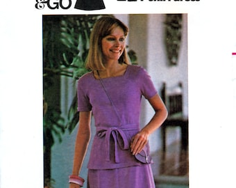 Butterick 4773 Vintage 70s Misses' Top, Skirt and Belt Sewing Pattern - Uncut - Sizes 8, 10, 12, 14, 16 or 18