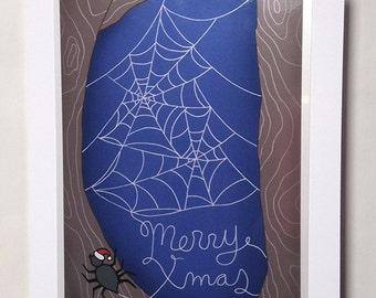 Spider Web Christmas Card, Weird Funny Animal Blank Xmas Greeting Card