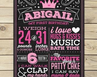 Princess First Birthday Chalkboard Sign Printable - Princess 1st Birthday Chalkboard Poster - Princess Birthday Party Decorations