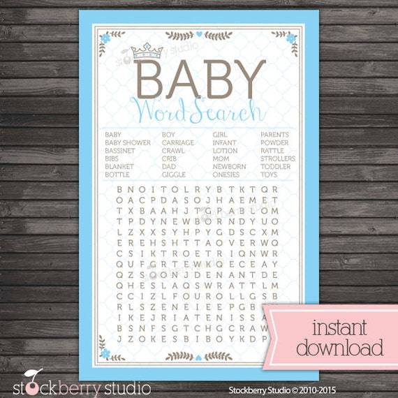 baby word search printable royal baby shower boy baby shower games
