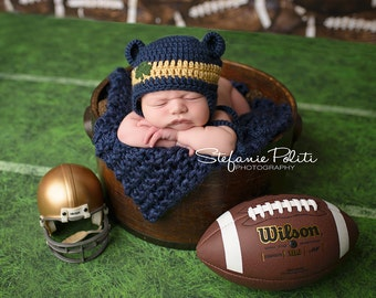 Baby Notre Dame hat for Newborn to 12 months St. Patrick's Day shamrock or Notre Dame Irish colors