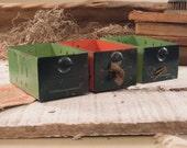 Vintage Three Drawer / Aluminum Storage Boxes / Cabinet Drawrs / Studio Storage / Urban Industrial