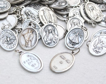 Saint Medal - Catholic Saints - Italy - Silvered Metal - with jumper ring