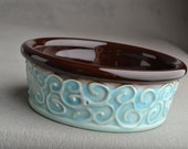 Small Dog Cat Bowl Ready To Ship Patina and Brown Dog Cat Bowl by Symmetrical Pottery
